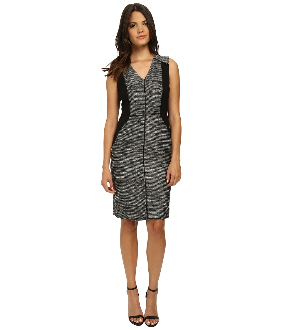 Adrianna Papell Tweed Dress w/ Ponte Combo (Black/Ivory) Women