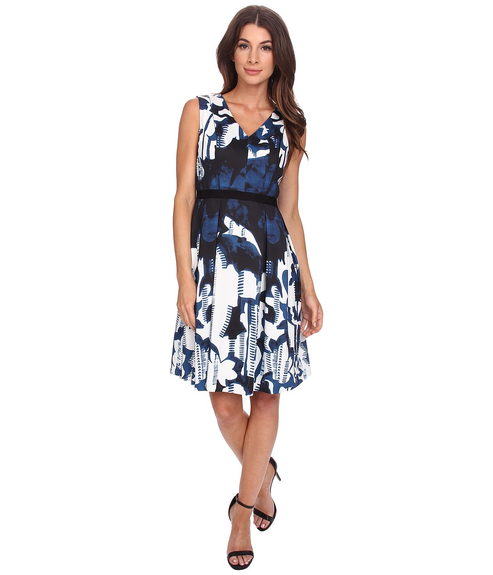 Adrianna Papell - Printed Scuba Dress (Blue Multi) Women