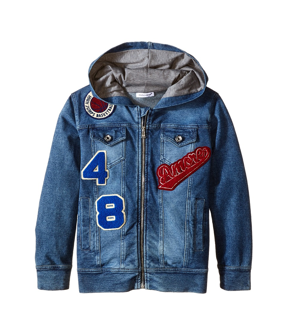 Dolce & Gabbana - Embroidered Zip-Up Hoodie (Toddler/Little Kids) (Blue Denim) Men
