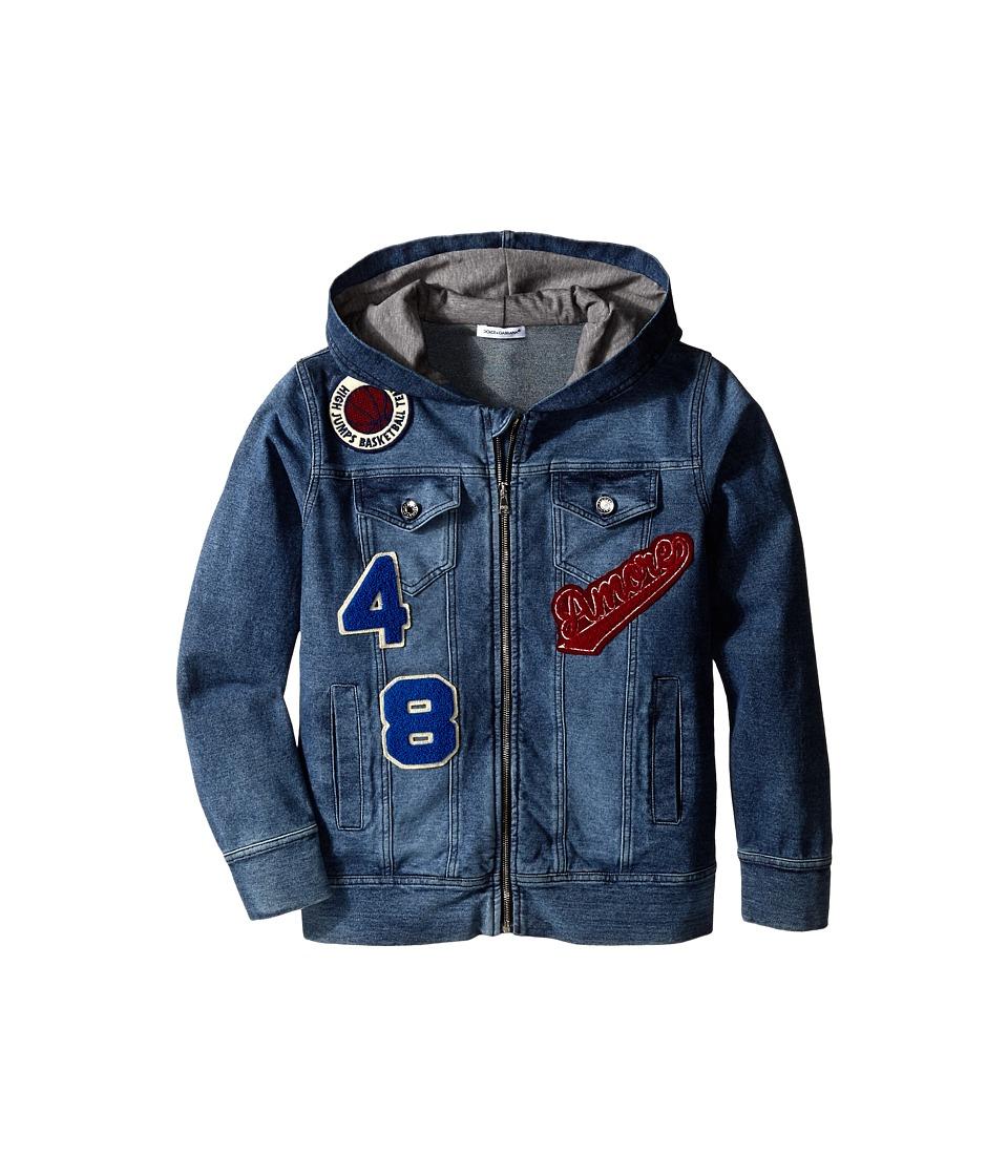 Dolce & Gabbana - Embroidered Zip-Up Hoodie (Big Kids) (Blue Denim) Men