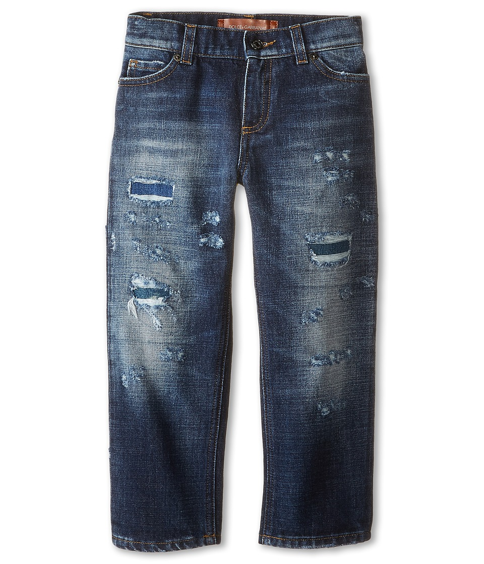 Dolce & Gabbana Kids - Distressed Five-Pocket Jeans in Blue Denim/Blue (Toddler/Little Kids) (Blue Denim/Blue) Boy's Jeans