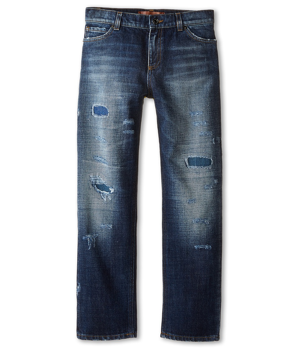 Dolce & Gabbana Kids - Distressed Five-Pocket Jeans in Blue Denim/Blue (Big Kids) (Blue Denim/Blue) Boy's Jeans