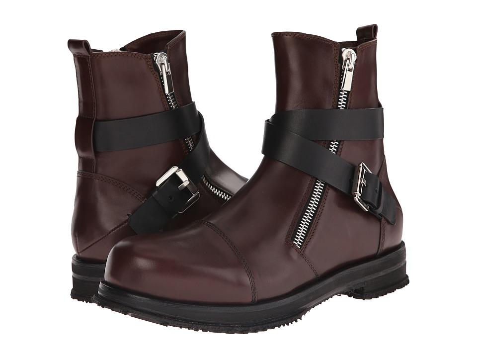 CoSTUME NATIONAL - Leather Buckle Boot (Espresso/Nero) Men