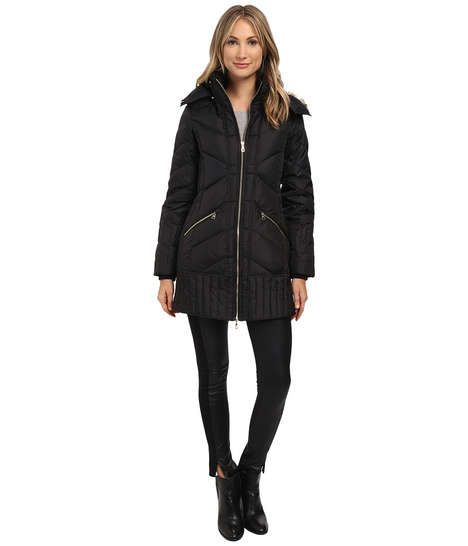 Sam Edelman - Zip Front 3/4 Puffer Coat (Black) Women's Coat