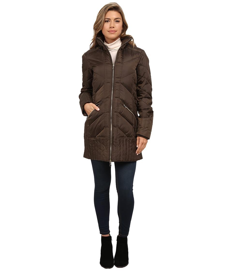 Sam Edelman - Zip Front 3/4 Puffer Coat (Olive) Women's Coat