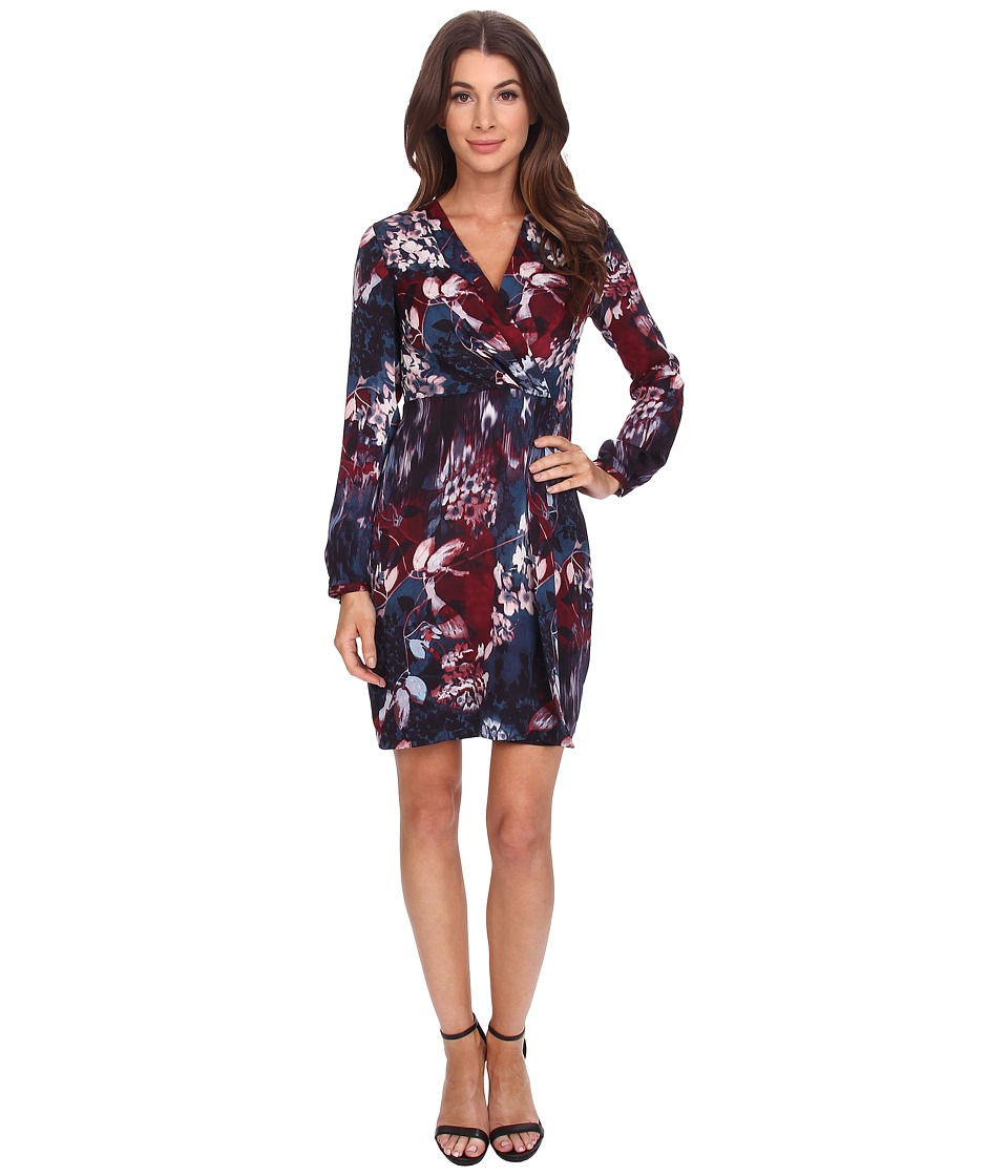 Adrianna Papell - Printed Tapered Wrap Dress (Navy Multi) Women's Dress