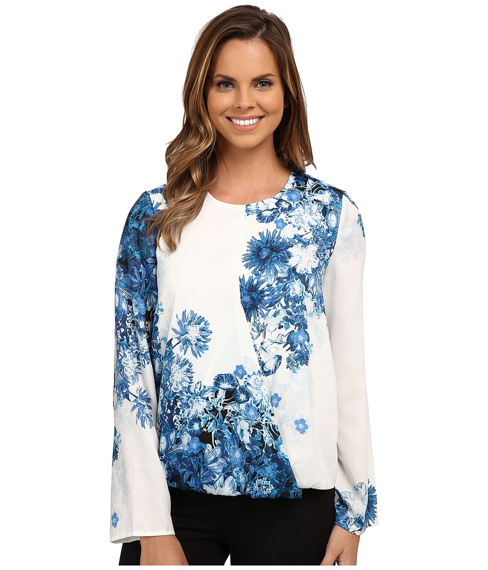 Adrianna Papell - Printed Crossover Top (Navy/Ivory) Women's Long Sleeve Pullover