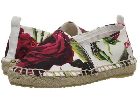 Dolce & Gabbana - Ceremony Espadrille (Toddler/Little Kid) (White/Rose Print) Women's Slip on Shoes