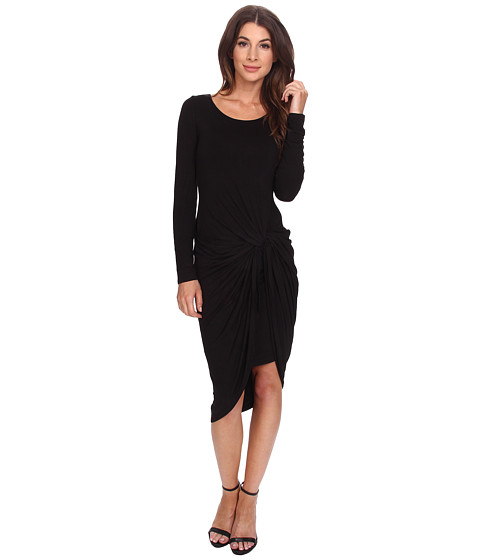 Adrianna Papell - Solid Scoop Neck Knotted Dress (Black) Women's Dress