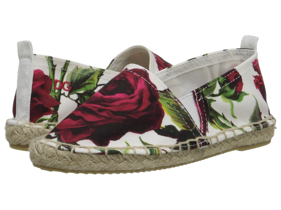 Dolce & Gabbana - Ceremony Espadrille (Little Kid) (White/Rose Print) Women's Flat Shoes
