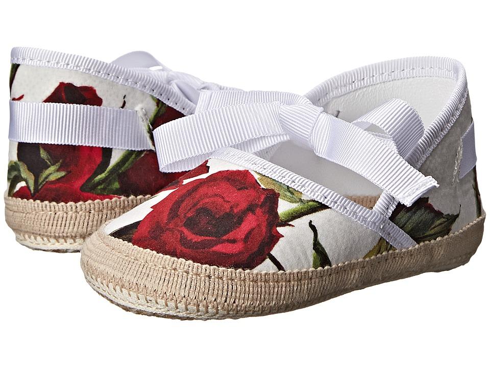 Dolce & Gabbana - Ceremony Ballerina Espadrille (Infant/Toddler) (White/Rose Print) Women's Flat Shoes