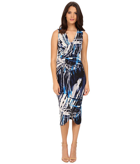Adrianna Papell - Printed V-Neck Sleeveless Rushed Dress (Blue Multi) Women