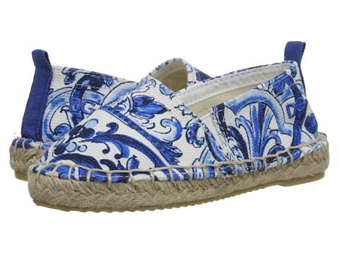 Dolce & Gabbana - Mediterranean Espadrille (Toddler/Little Kid) (White/Blue Print) Women's Flat Shoes