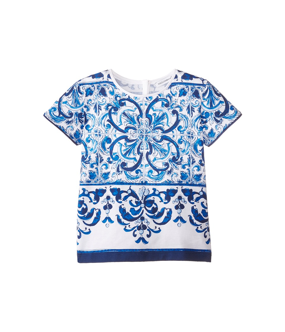 Dolce & Gabbana - Mediterranean T-Shirt (Toddler/Little Kids) (White/Blue Print) Women