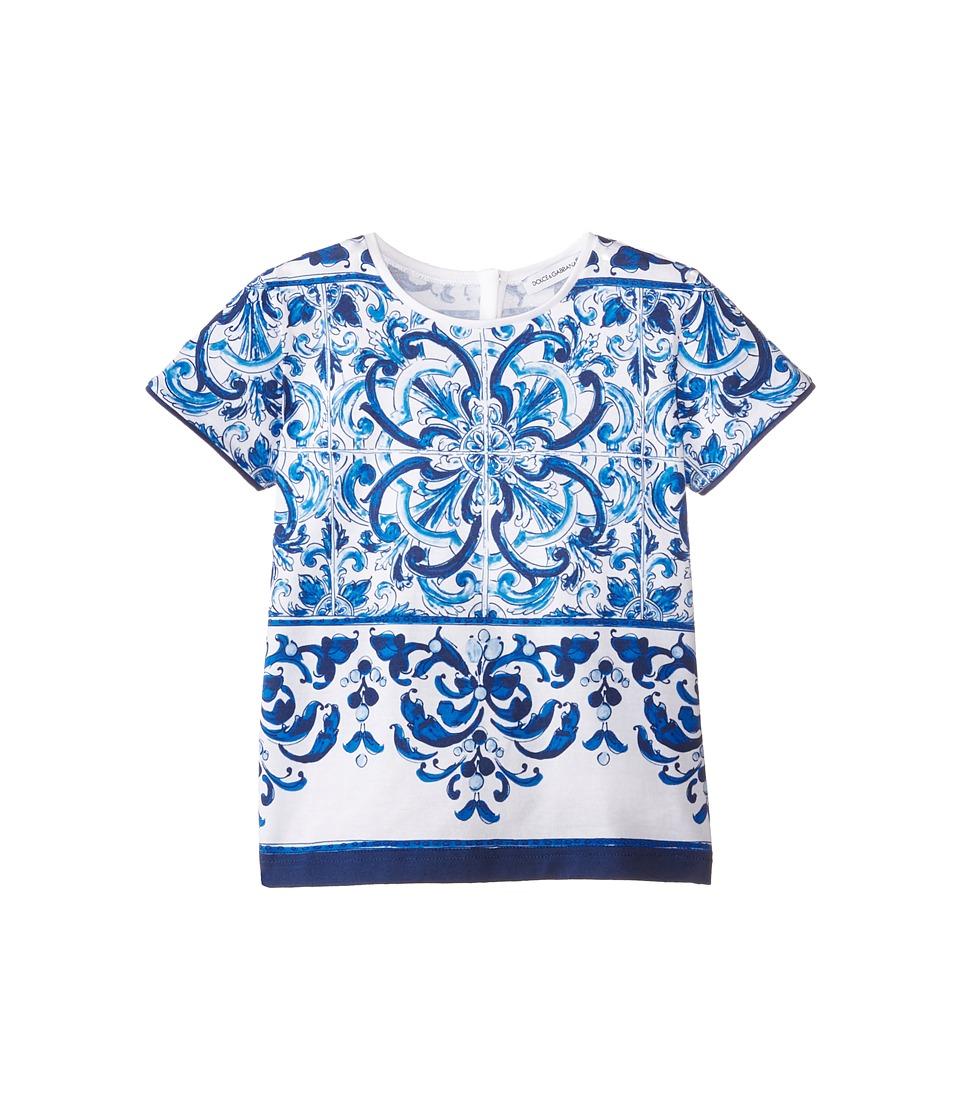 Dolce & Gabbana - Mediterranean T-Shirt (Toddler/Little Kids) (White/Blue Print) Women