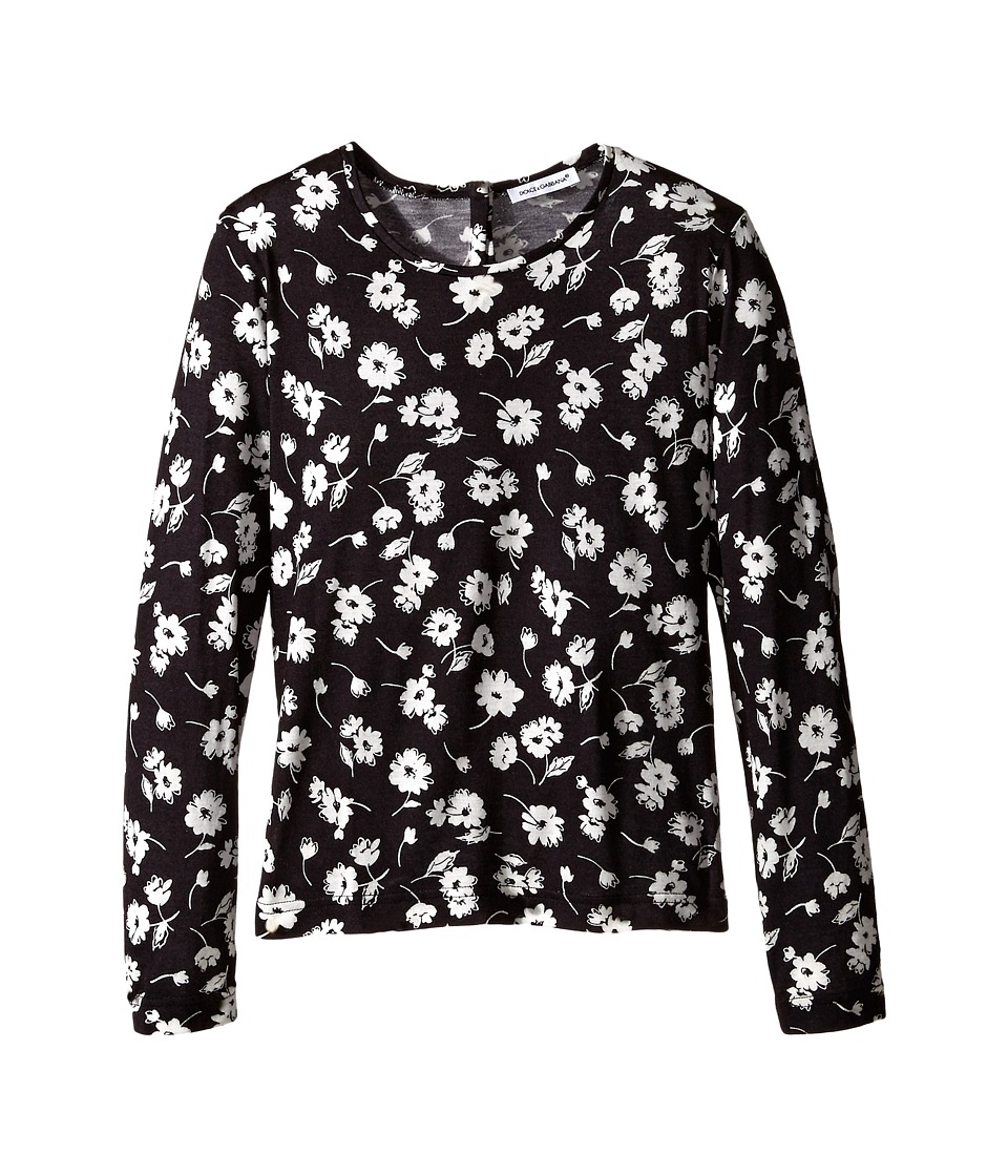 Dolce & Gabbana - City Floral Long T-Shirt (Toddler/Little Kids) (White/Black Print) Women's T Shirt