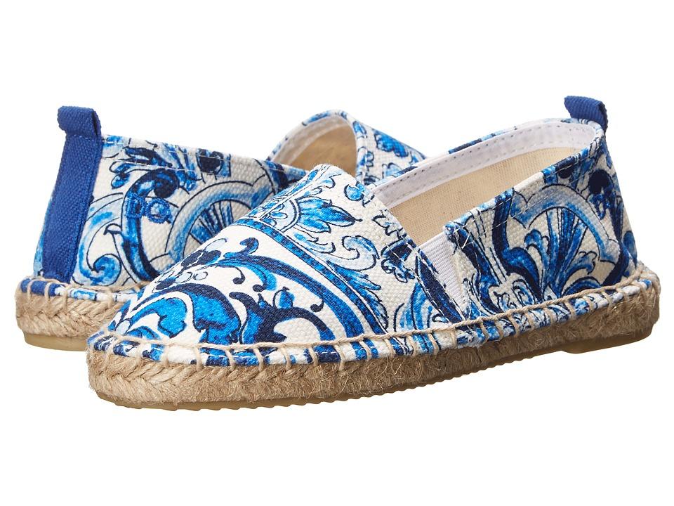 Dolce & Gabbana Kids - Mediterranean Espadrille (Little Kid) (White/Blue Print) Girls Shoes