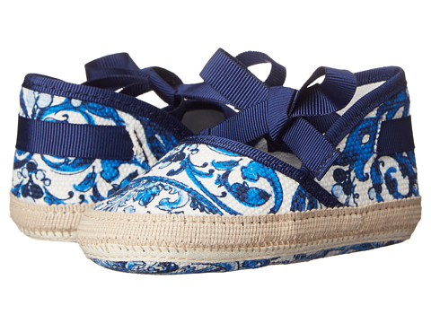 Dolce & Gabbana - Ceremony Ballerina Espadrille (Infant/Toddler) (White/Blue Print) Women