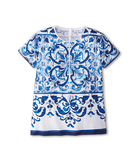 Dolce & Gabbana - Mediterranean T-Shirt (Big Kids) (White/Blue Print) Women