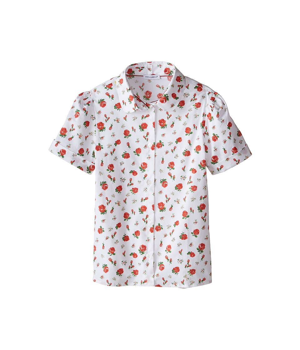 Dolce & Gabbana Kids - Back to School Floral Print Shirt (Big Kids) (Print) Girl's Clothing