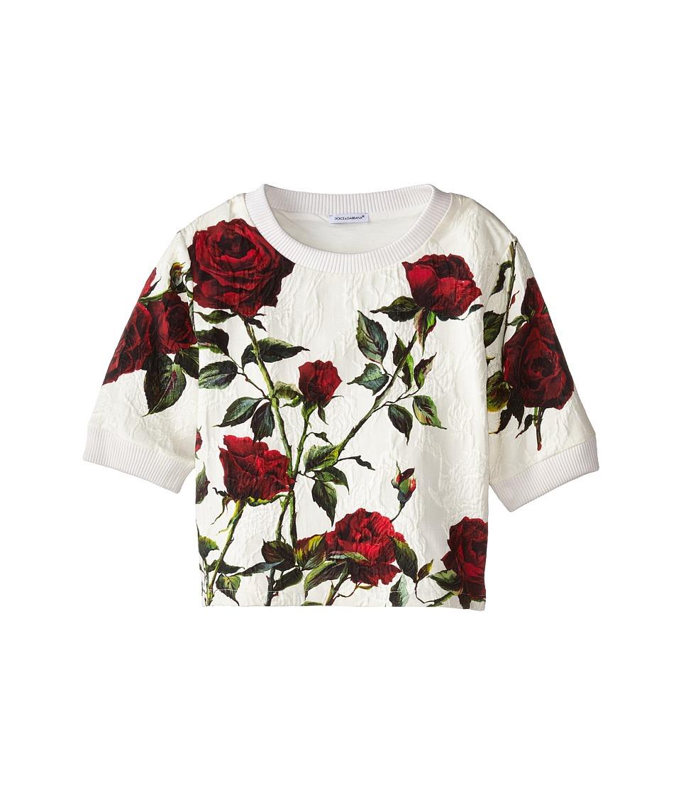 Dolce & Gabbana - Ceremony Rose Print Sweatshirt (Toddler/Little Kids) (White/Rose Print) Women's Sweatshirt