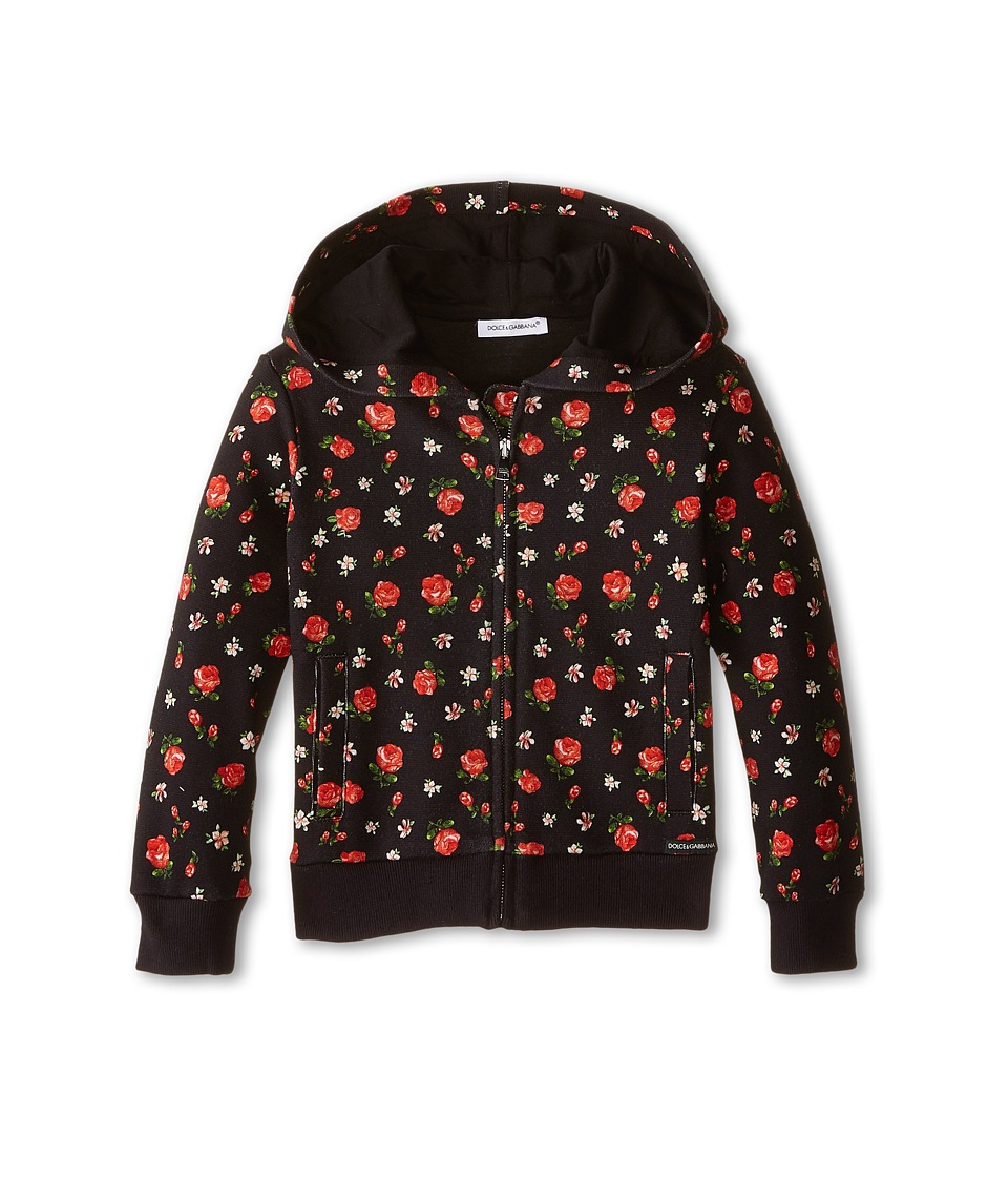 Dolce & Gabbana - Back to School Floral Zip-Up Hoodie (Toddler/Little Kids) (Black/Rose Print) Women
