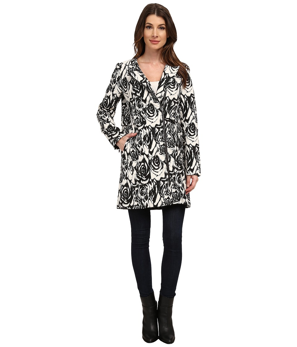 Adrianna Papell - Jacquard Asymmetric Zip-Front Coat (Black/Ivory) Women's Coat