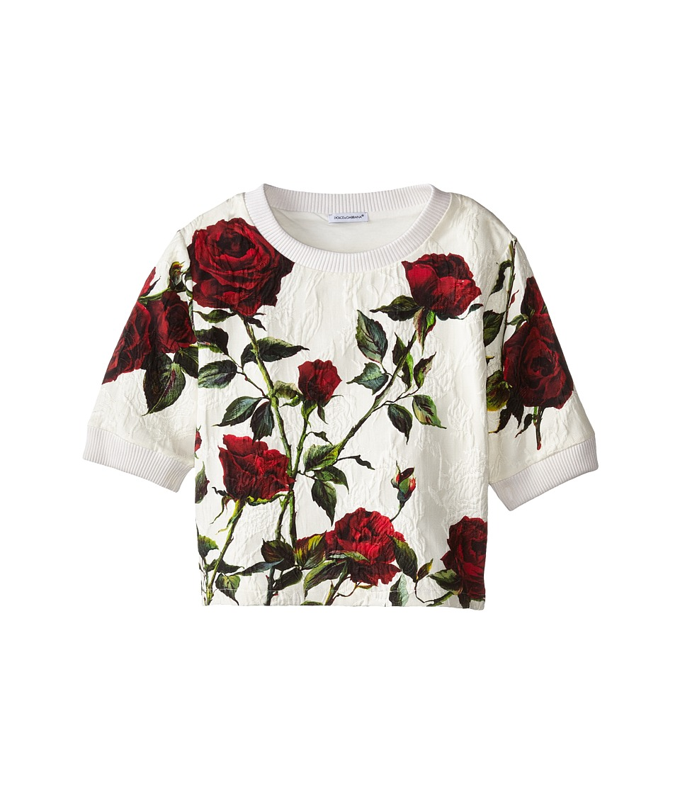 Dolce & Gabbana - Ceremony Rose Print Sweatshirt (Big Kids) (White/Rose Print) Women's Sweatshirt