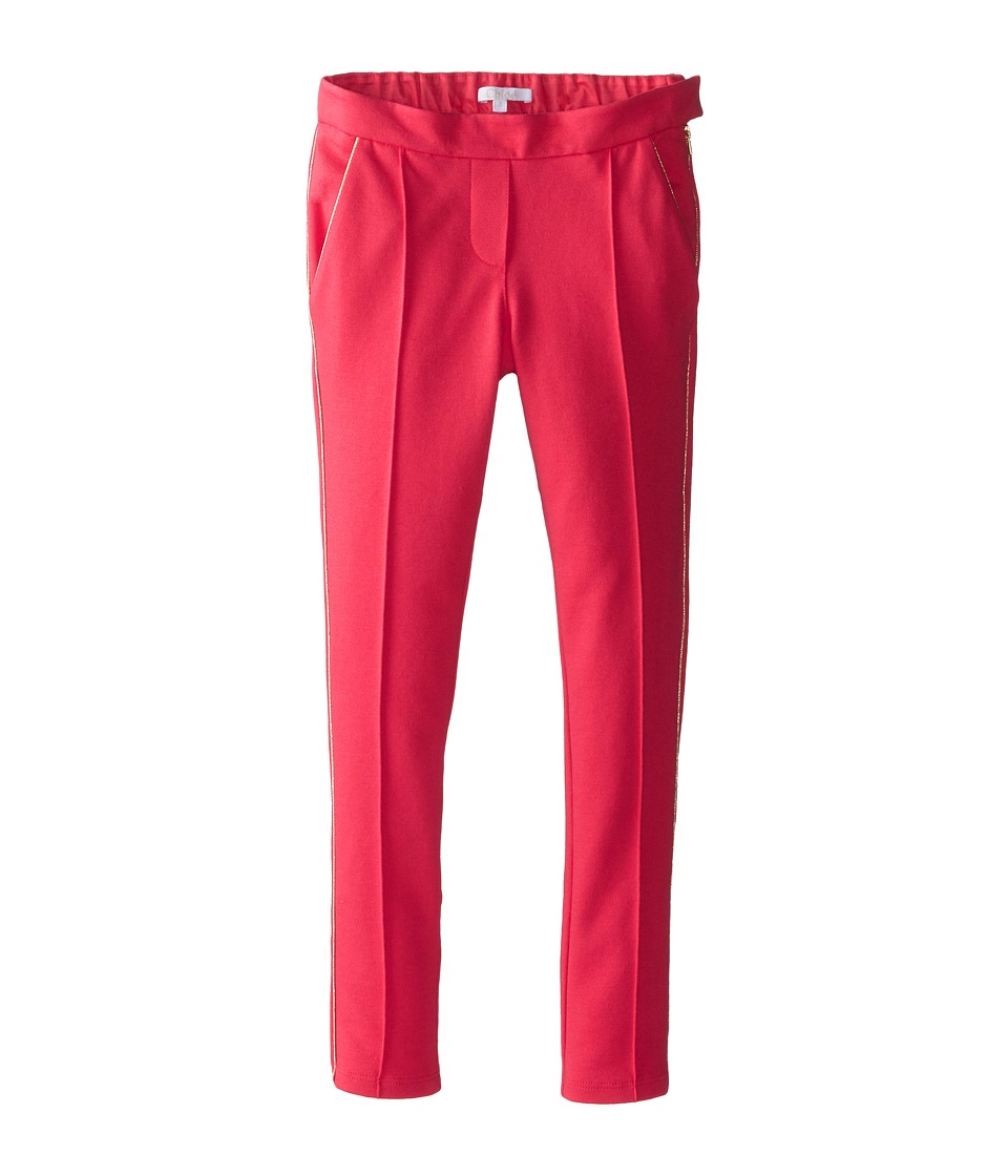 Chloe Kids - Milano Fabric Trousers w/ Side Zip (Little Kids/Big Kids) (Red) Girl's Casual Pants