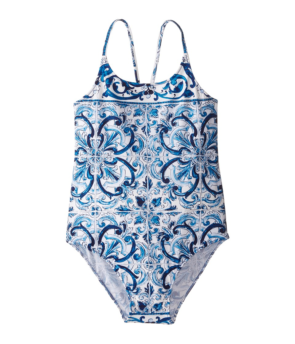 Dolce & Gabbana - Mediterranean One-Piece Swimsuit (Toddler/Little Kids/Big Kids) (White/Blue Print) Women's Swimsuits One Piece