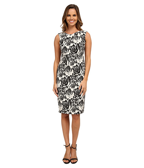 Adrianna Papell - Jacquard Fitted Dress (Black/Ivory) Women