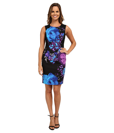 Adrianna Papell - Placement Print Fitted Dress (Purple Multi) Women