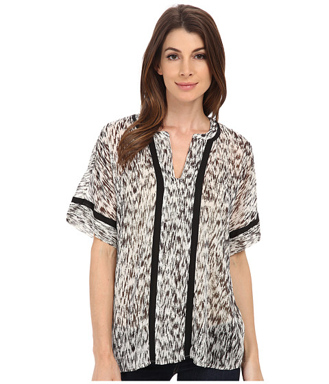 TWO by Vince Camuto - Short Sleeve Gravel Plains Y-Neck Tent Blouse (Rich Black) Women
