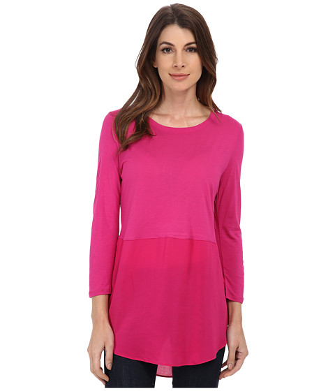 TWO by Vince Camuto - Long Sleeve Mixed Media Crew Neck Tunic (Ruby Pink) Women