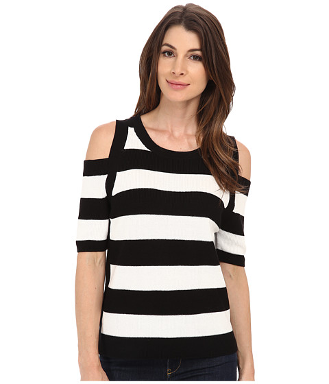 TWO by Vince Camuto - Cold Shoulder Striped Shaker Stitch Pullover (New Ivory) Women
