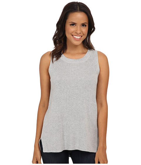 TWO by Vince Camuto - Sleeveless Travelling Stitch Ribbed Pullover (Grey Heather) Women's Sleeveless