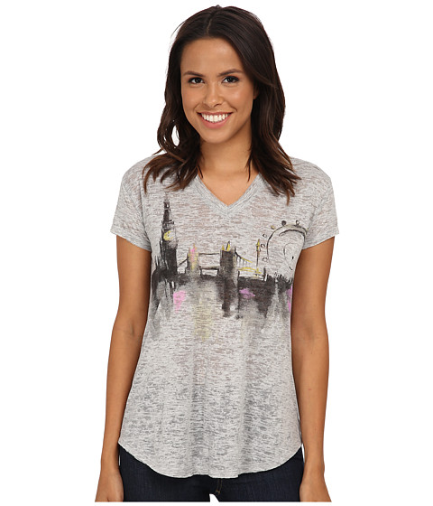 TWO by Vince Camuto - Short Sleeve London Cityscape Burnout V-Neck Tee (Grey Heather) Women