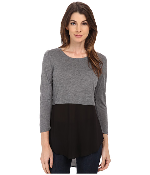 TWO by Vince Camuto - Long Sleeve Mixed Media Crew Neck Tunic (Dark Dove Heather) Women's Blouse