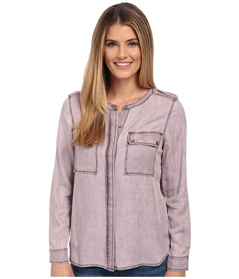 TWO by Vince Camuto - Long Sleeve Pastel Fade Collarless Utility Shirt (Wash Mahogany) Women's Clothing