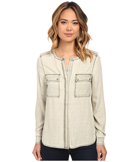 TWO by Vince Camuto - Long Sleeve Pastel Fade Collarless Utility Shirt (Wash Pine) Women