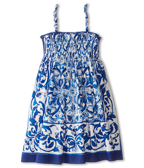 Dolce & Gabbana - Mediterranean Cover-Up Dress (Toddler/Little Kids) (White/Blue Print) Women