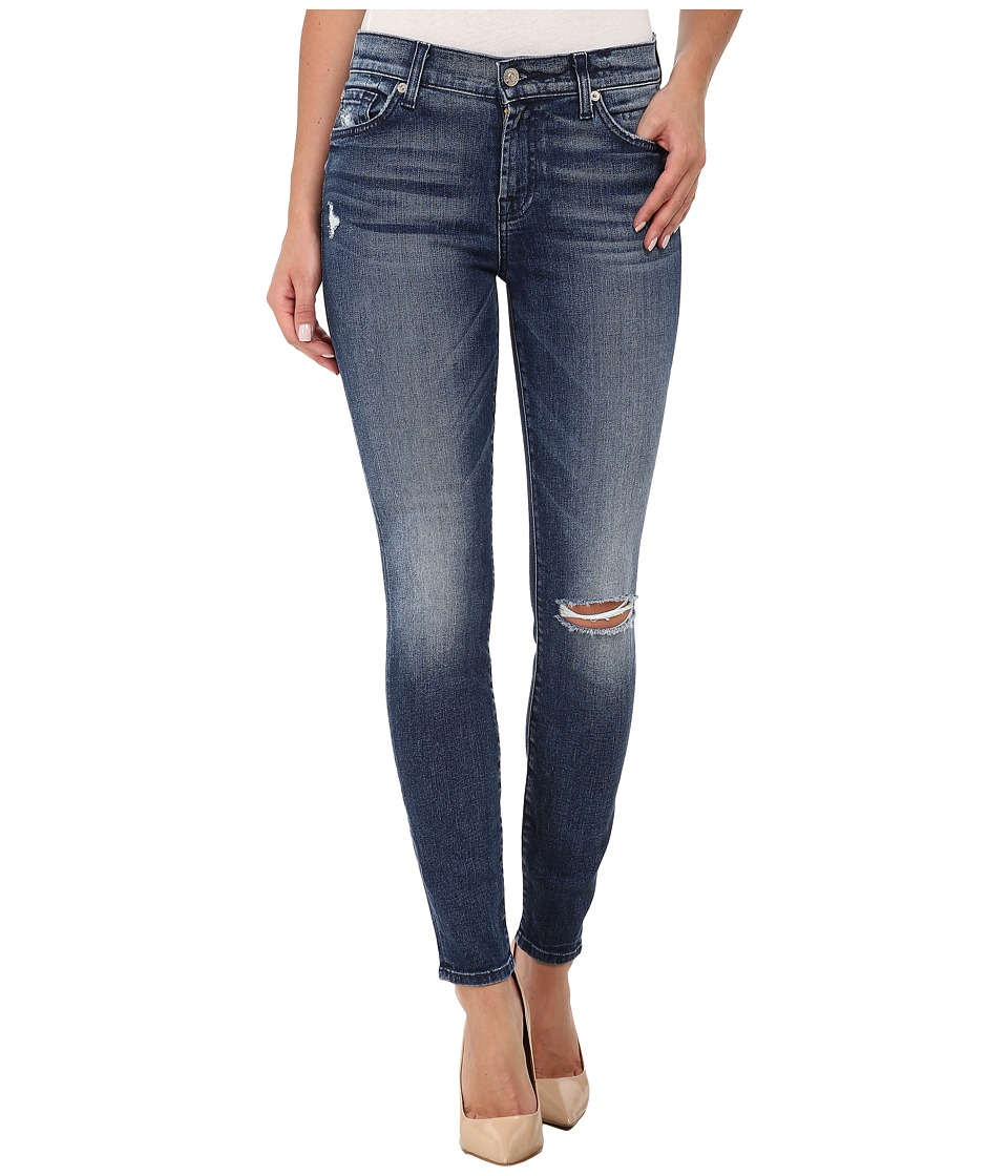 7 For All Mankind - The Ankle Skinny with Navy Squiggle Destroy in Lake Blue (Lake Blue 2) Women's Jeans