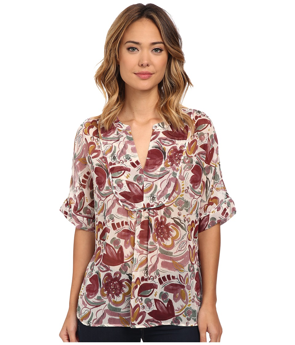 TWO by Vince Camuto - Short Sleeve Lyrical Floral Swing Y-Neck Blouse (Mauve Dust) Women's Blouse