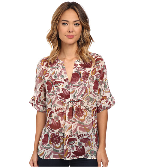 TWO by Vince Camuto - Short Sleeve Lyrical Floral Swing Y-Neck Blouse (Mauve Dust) Women