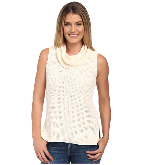 TWO by Vince Camuto - Sleeveless Travelling Waffle Stitch Turtleneck (Antique White) Women