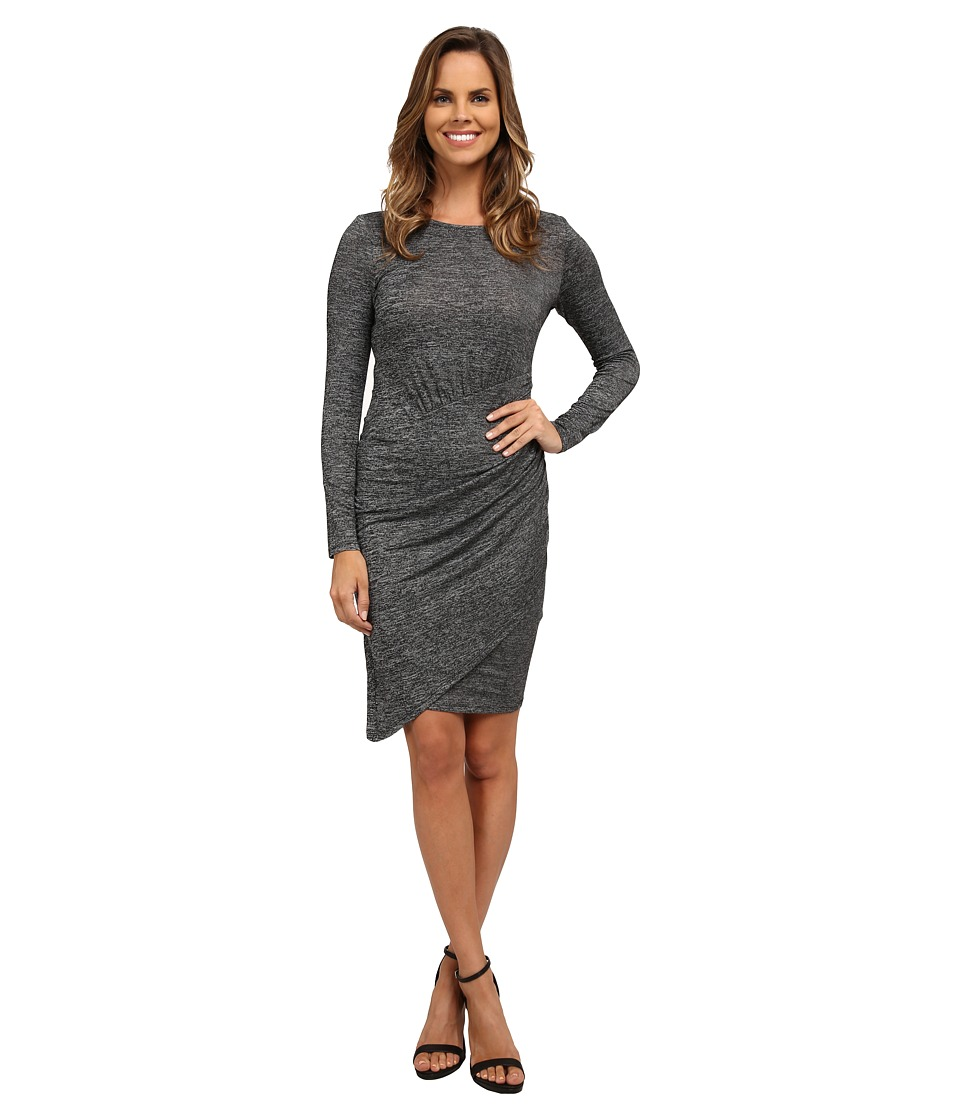 Adrianna Papell - Jaspee Knit Scoop Neck Ruched Dress (Heather Black) Women's Dress