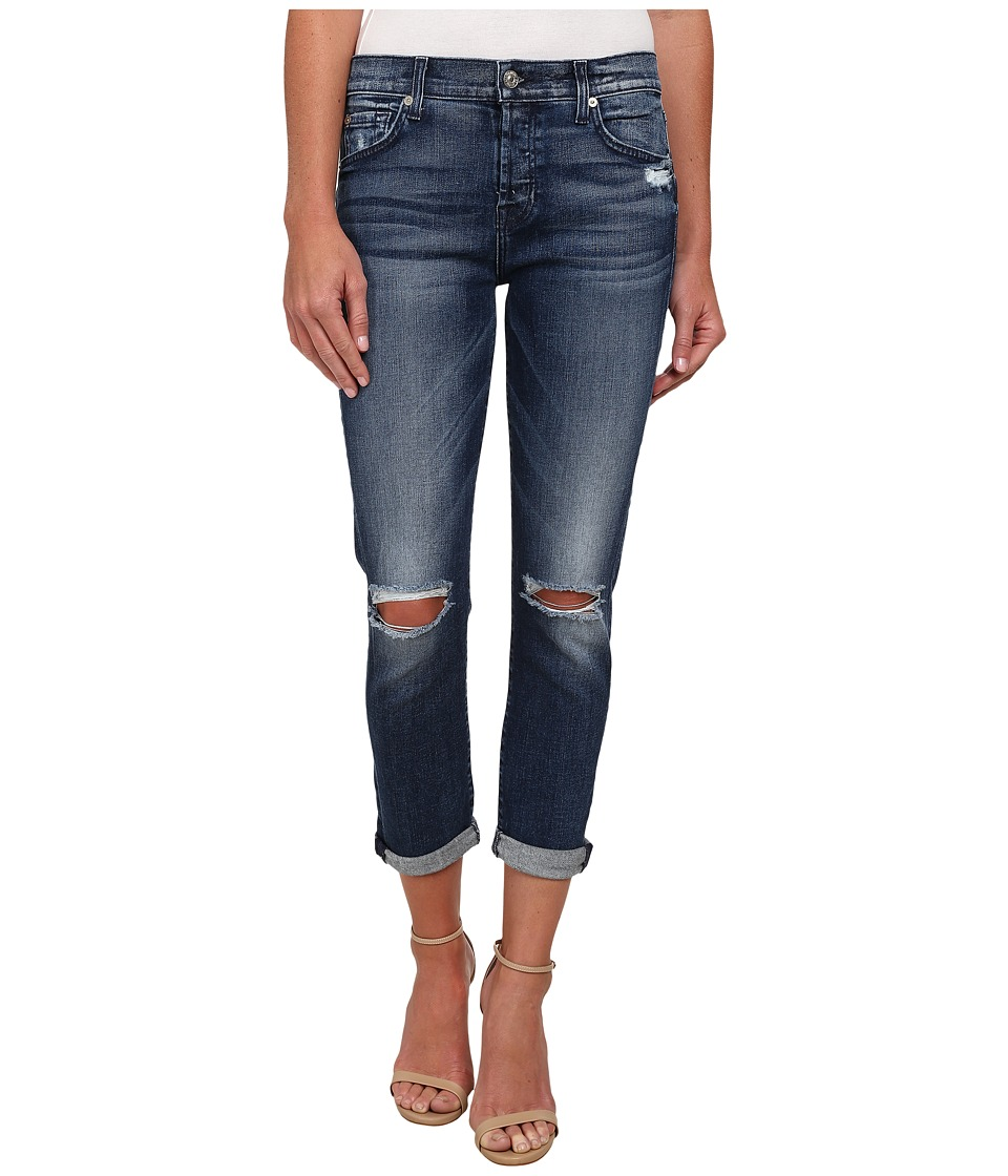 7 For All Mankind - Josefina with Knee Holes Destroy in Lake Blue (Lake Blue 3) Women's Jeans
