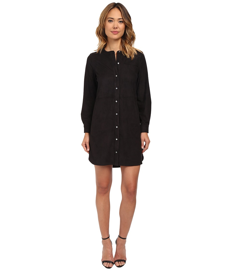 TWO by Vince Camuto - Long Sleeve Suede Splitneck Shirtdress (Rich Black) Women's Clothing