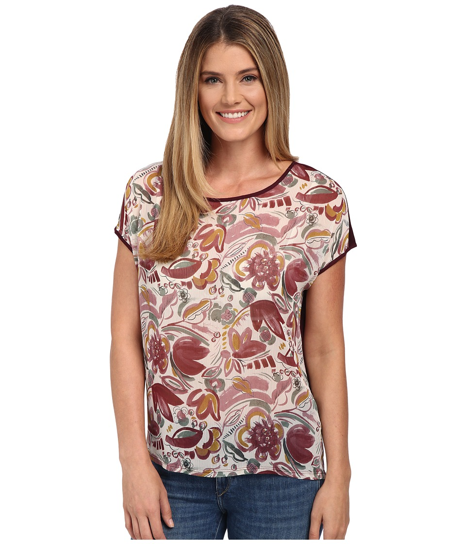 TWO by Vince Camuto - Short Sleeve Lyrical Floral Mixed Media Tee (Mauve Dust) Women