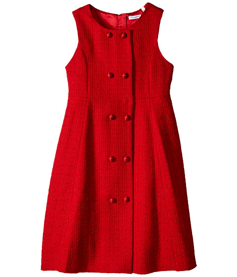 Dolce & Gabbana - City Button Detail Dress (Big Kids) (Dark Red) Women